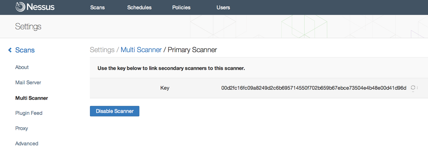 Nessus primary scanner key