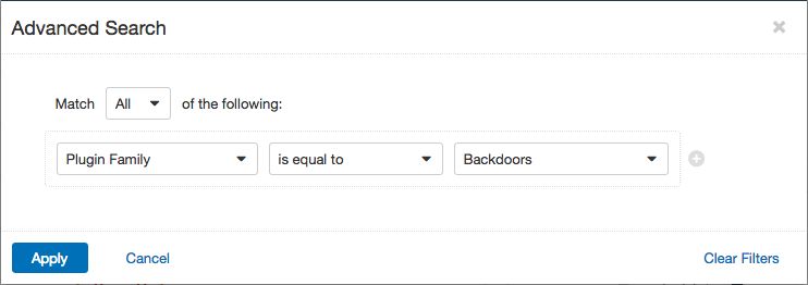 Advaanced search filter for backdoors