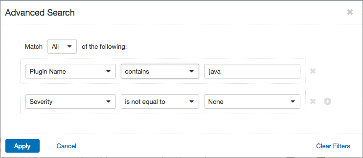 Advanced search filter for Java plugins with priority