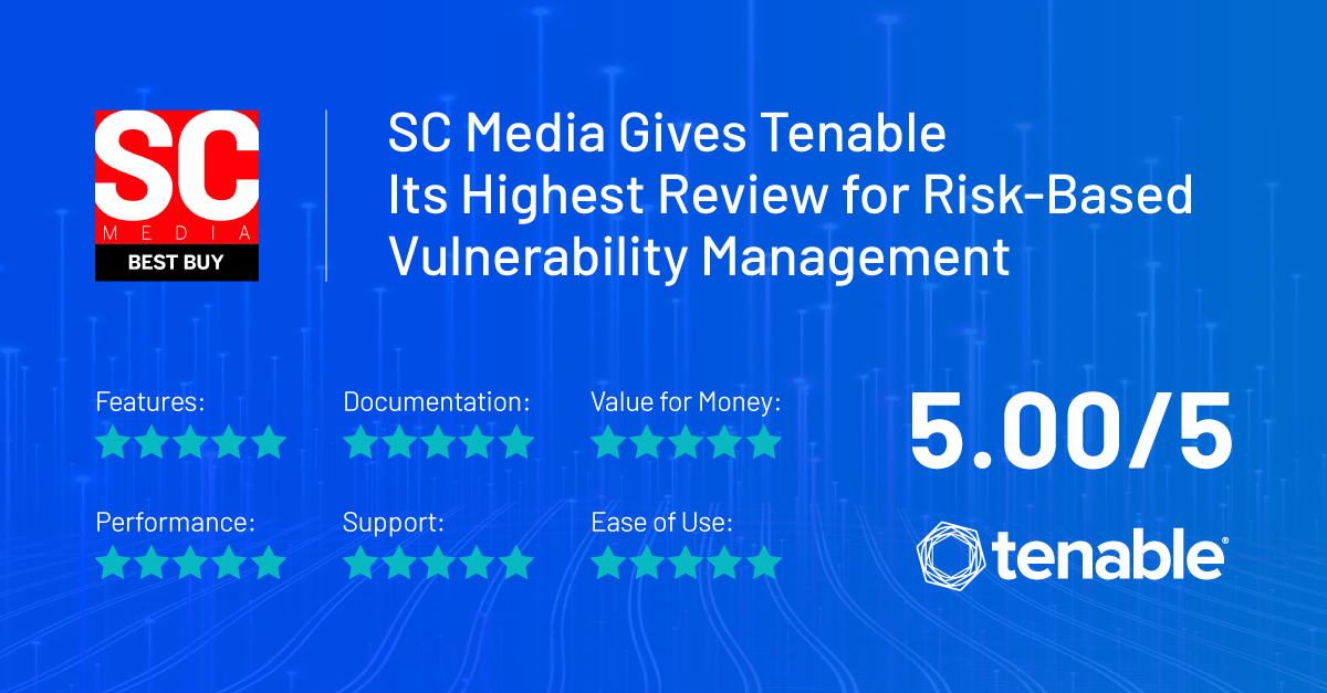 Snapshot of Tenable's five-star ratings from SC Media