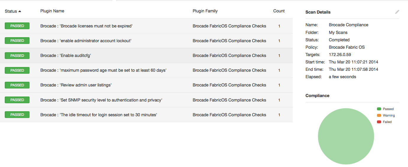 Nessus sample configuration results