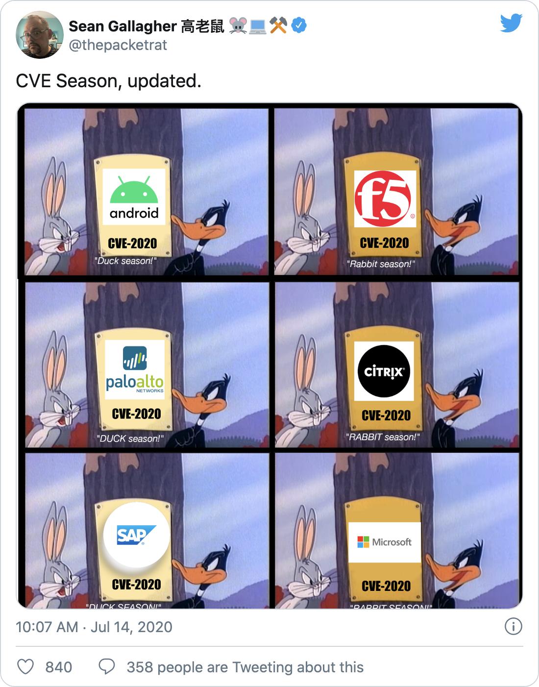 "Tweet screenshot from Sean Gallagher - ""CVE Season, updated"""