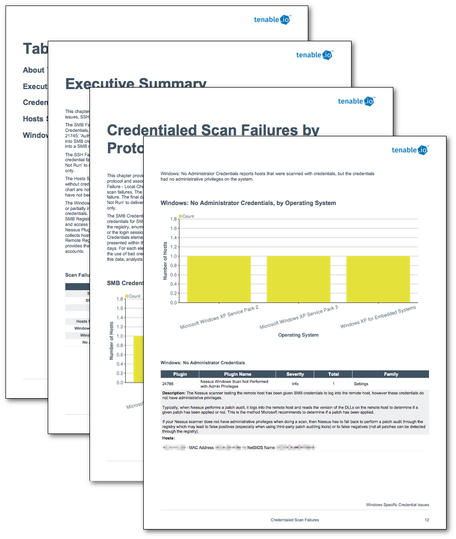 Credentialed Scan Failures Reports