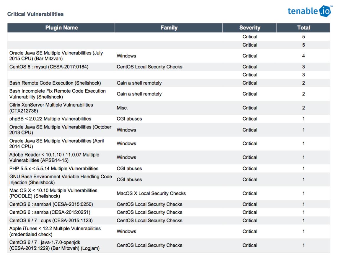Critical Vulnerabilities table list