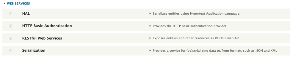Enabled modules required to trigger the exploit (note: Serialization is enabled when enabling RESTful Web Services).