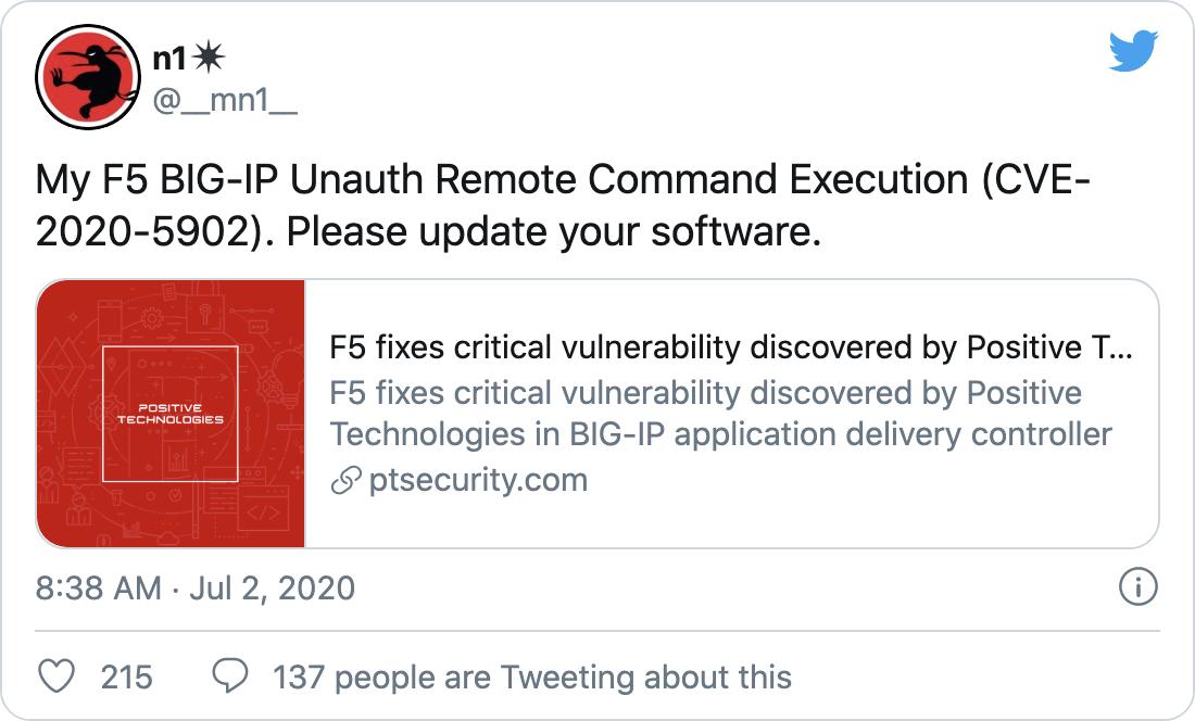 Initial vulnerability disclosure - tweet by Mikhail Klyuchnikov