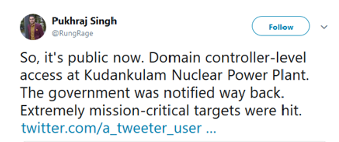KNPP tweet from security analyst Pukhraj Singh