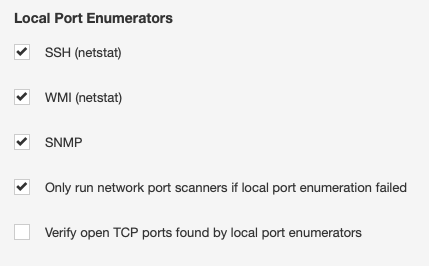 Nessus Settings - Local Port Enumerators