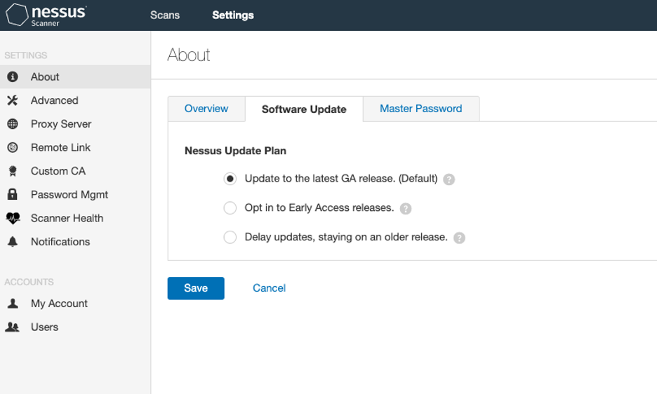 Nessus Software Update