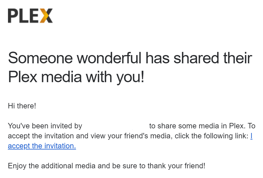 Plex media share - example email notification