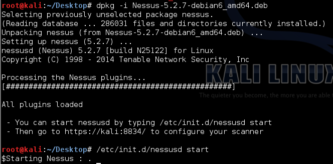 Installing Nessus on Kali Linux via the command line.