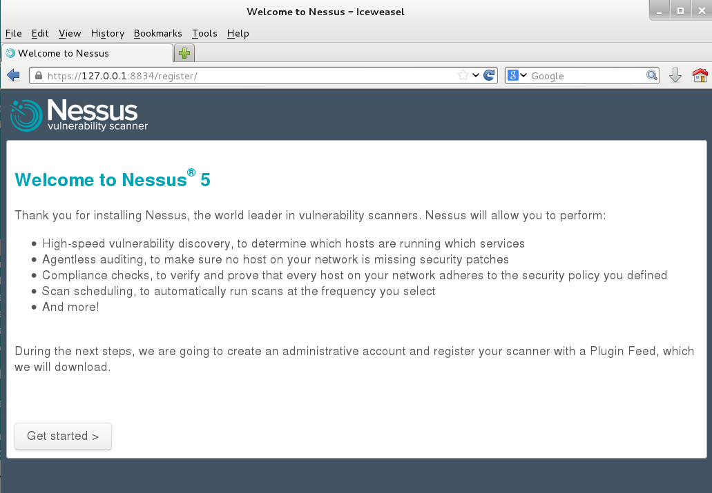 Accessing the Nessus Web Interface.