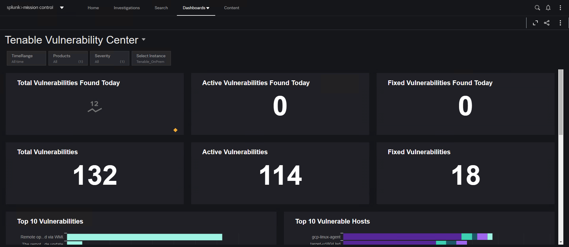 Screenshot of the Tenable Vulnerability Center within the Splunk Mission Control dashboard.