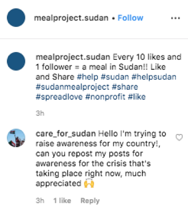 care_for_sudan instagram account