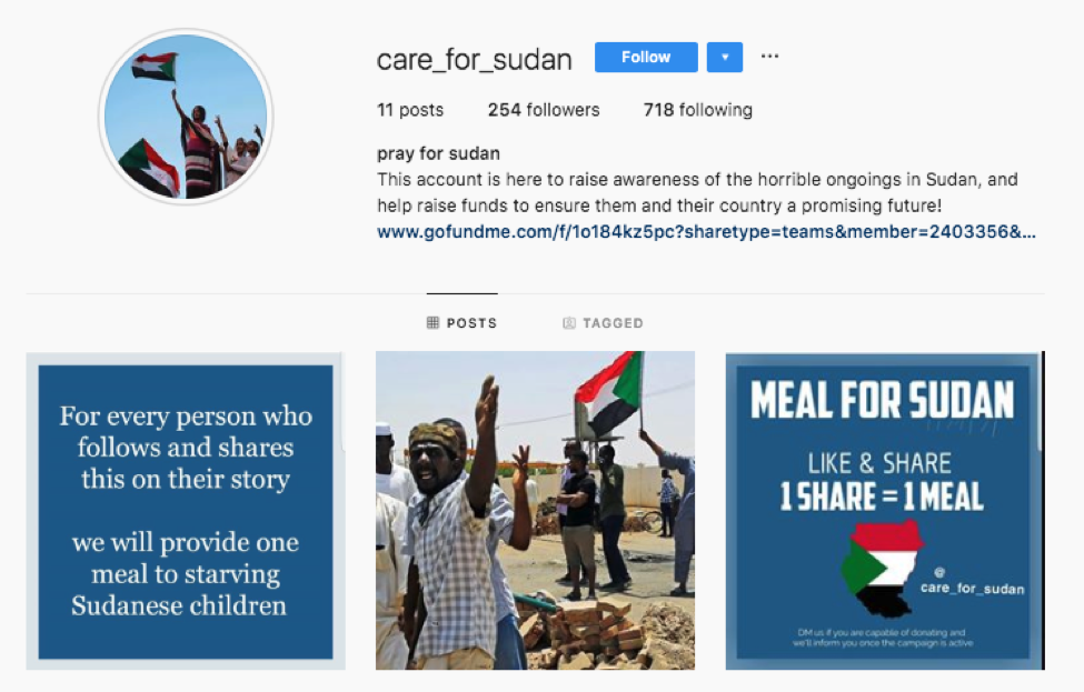 care_for_sudan among Sudan Meal Project instagram scam accounts