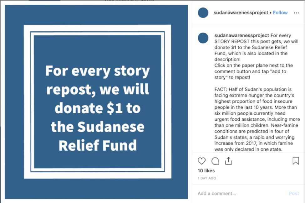 Sudan Meal Project Instagram scam account promises donations