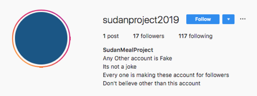 SudanProject Instagram scam