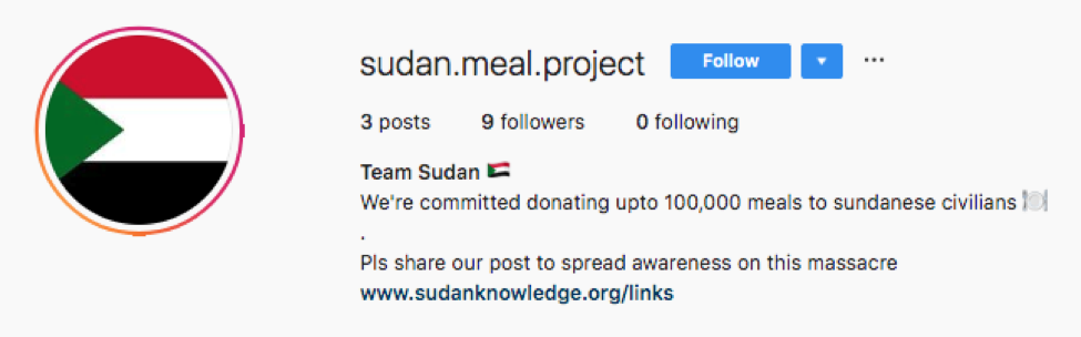 Sudan Meal Project instagram scammers emerge