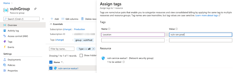 Tagging with Azure Resource Groups