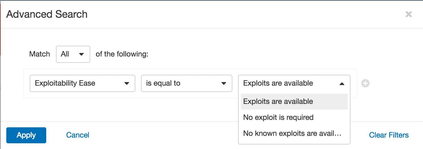Tenable.io Exploitability Ease Filter