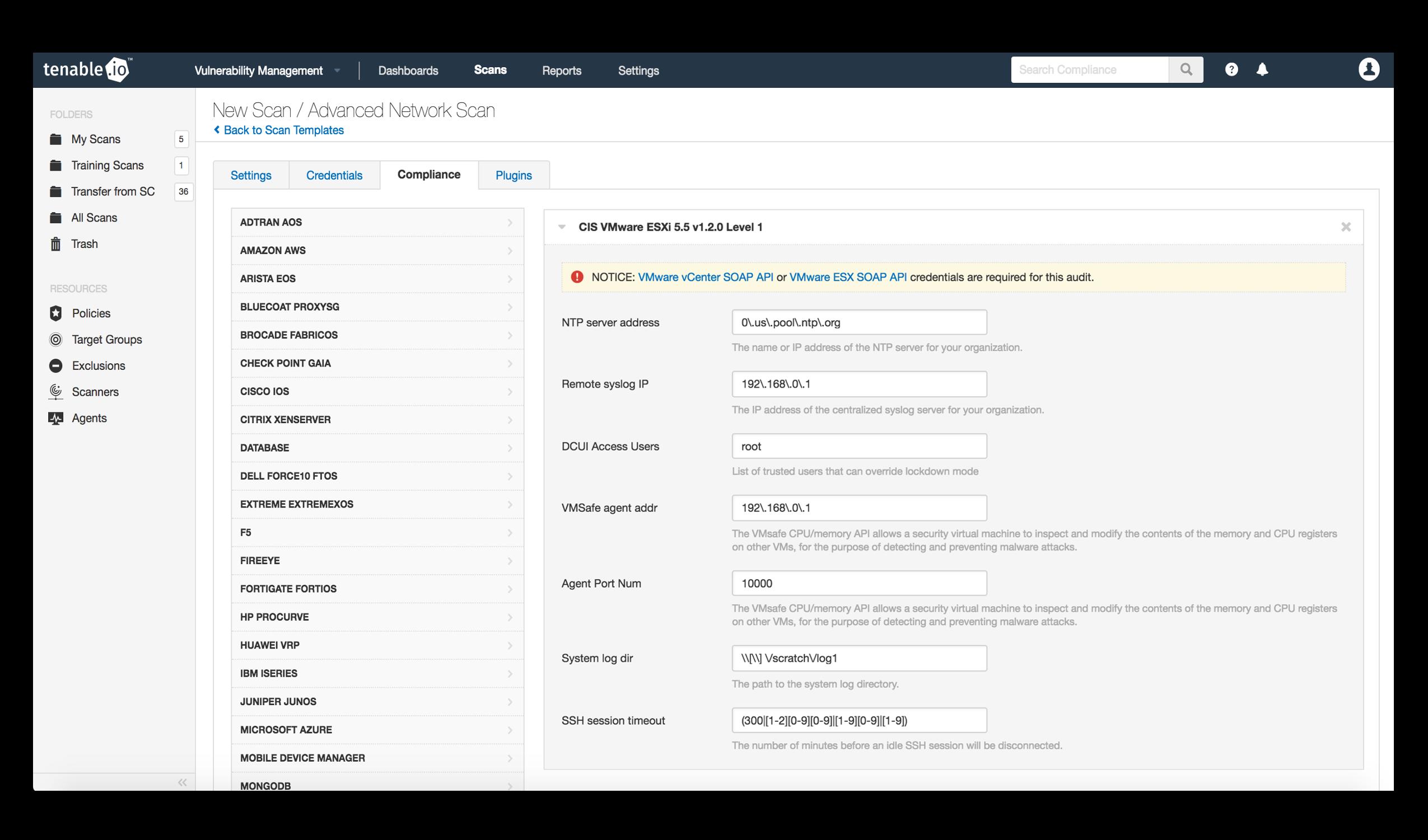 VMWare Compliance in Tenable.io
