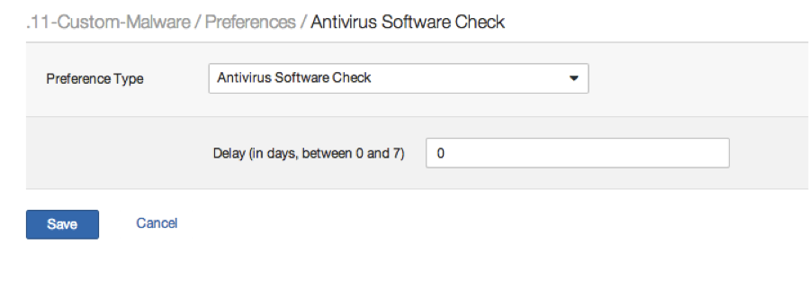 Anti-virus software check