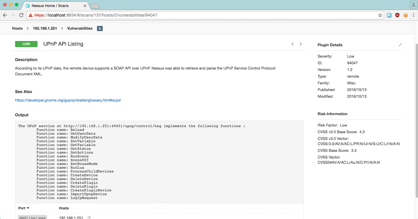 UPnP API Listing Plugin