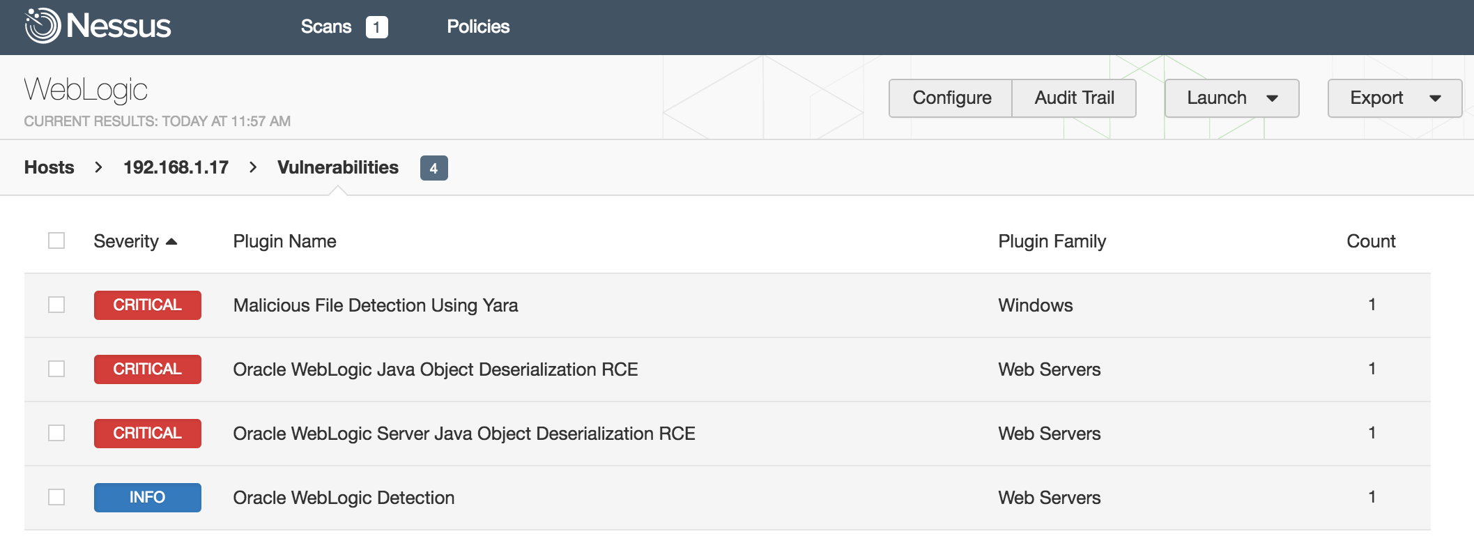 Nessus WebLogic scan with YARA rule