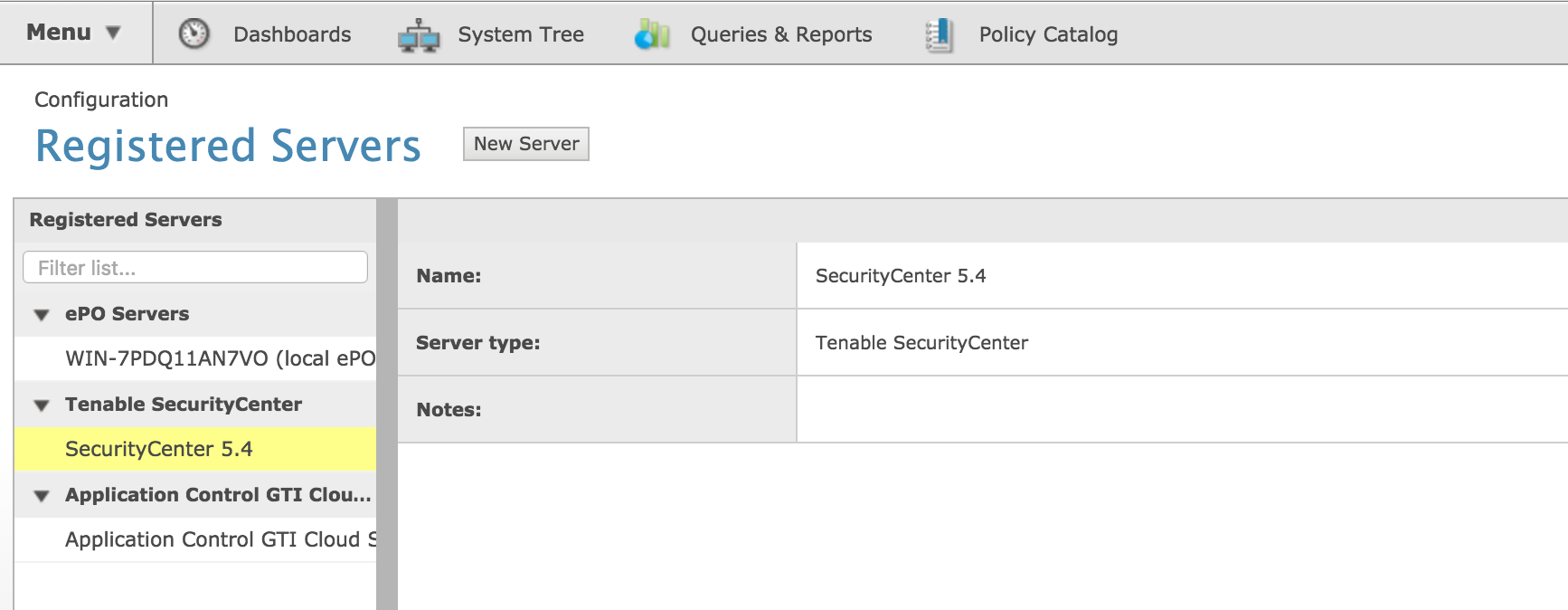 List of Registered Servers