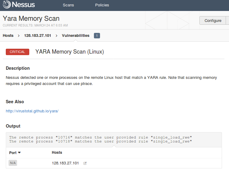 YARA Memory Scan on the hacked host
