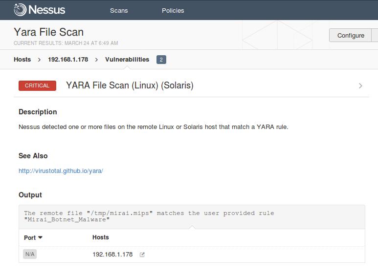 YARA File Scan to locate the malware