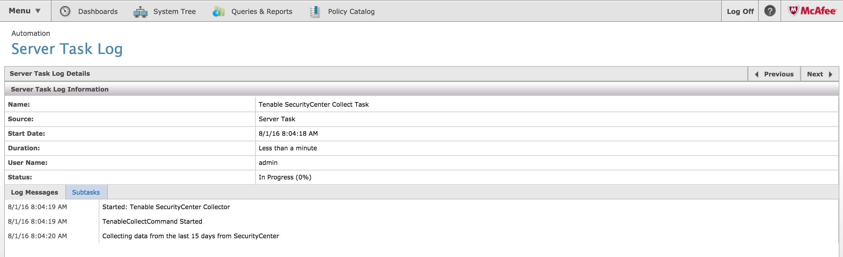 Server Task Log status