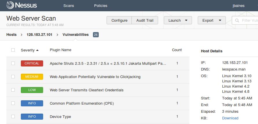 Web Server Scan for Apache Struts vulnerability