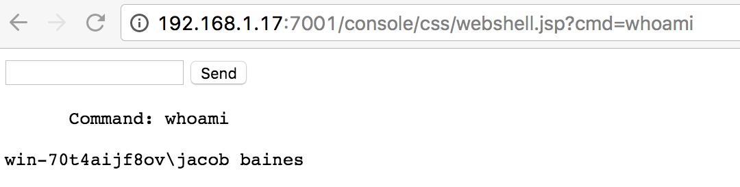 Executing shell commands via the WebLogic server