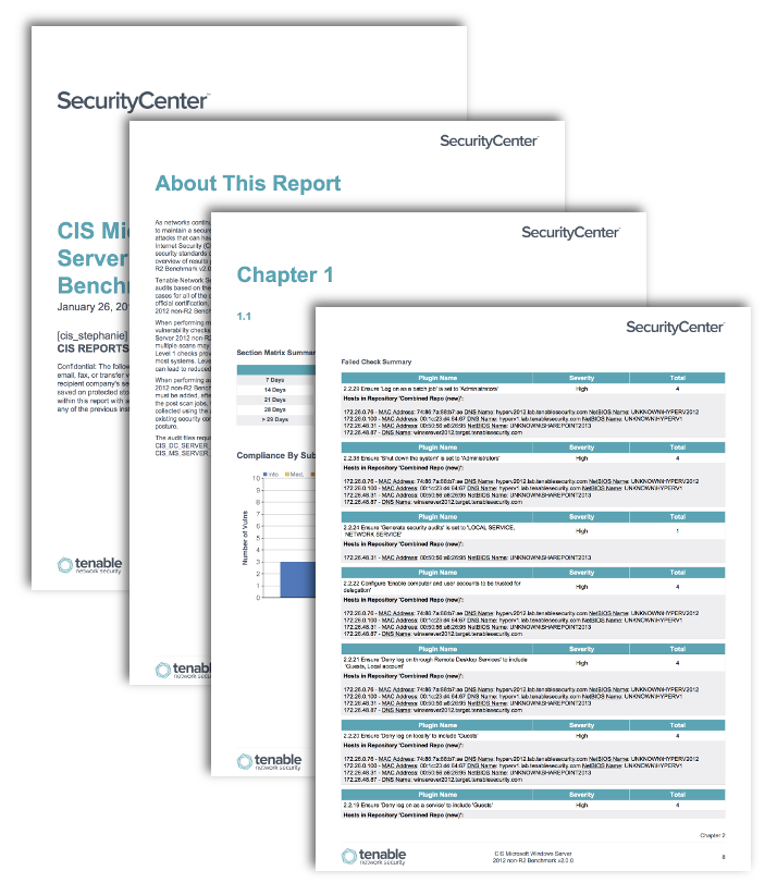 cis microsoft servers benchmark reports sc report template tenable