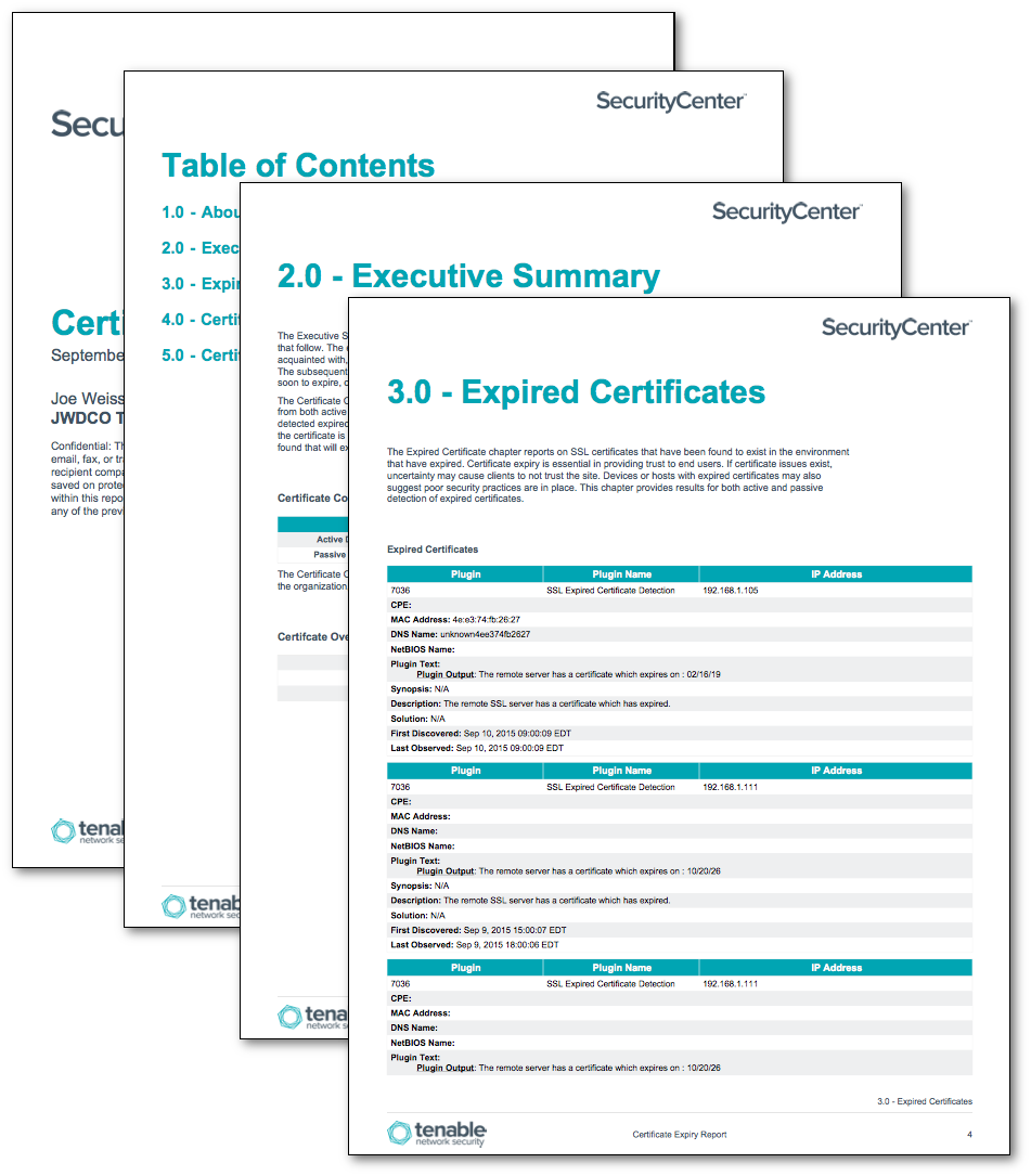 Certificate Expiry Report Sc Report Template Tenable