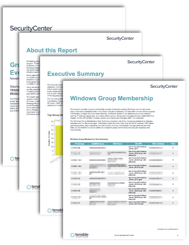 group management events report sc report template tenable