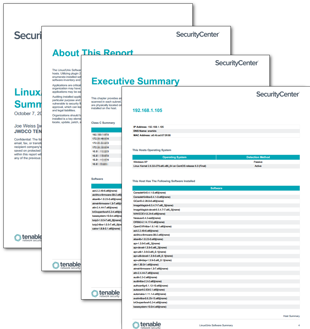 Linux/Unix Software Summary - SC Report Template | Tenable®