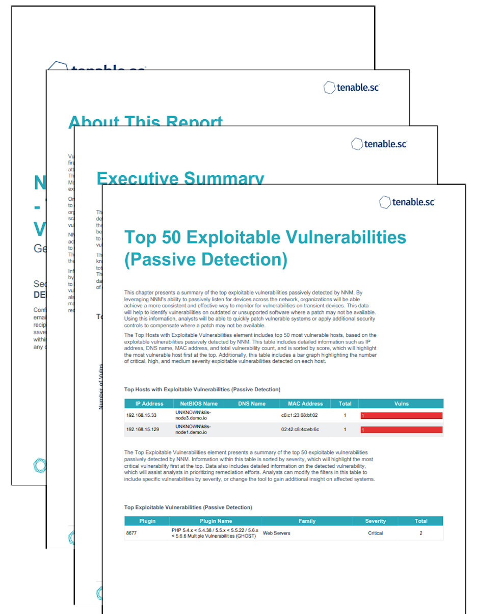 NNM Detections Report - Top 50 Exploitable Vulnerabilities