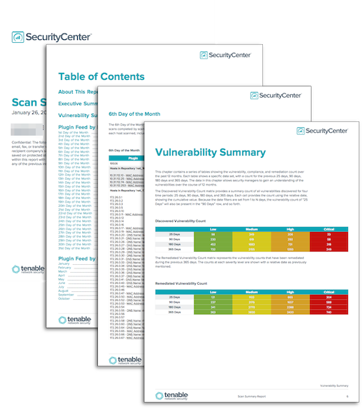 Scan Summary Report - SC Report Template | Tenable®