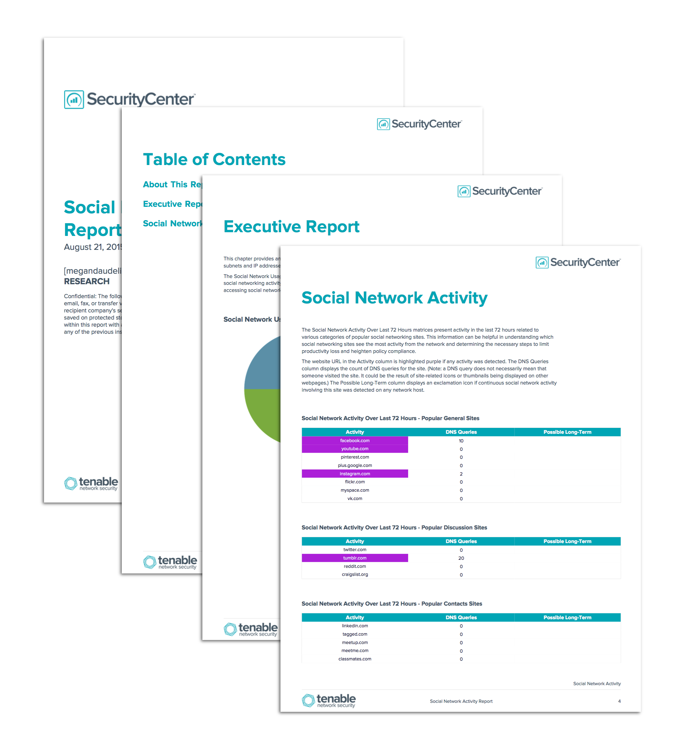 Social Network Activity Report Screenshot