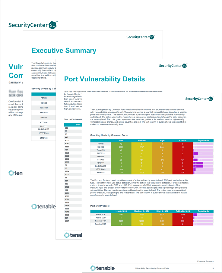 Vulnerability Reporting by Common Ports