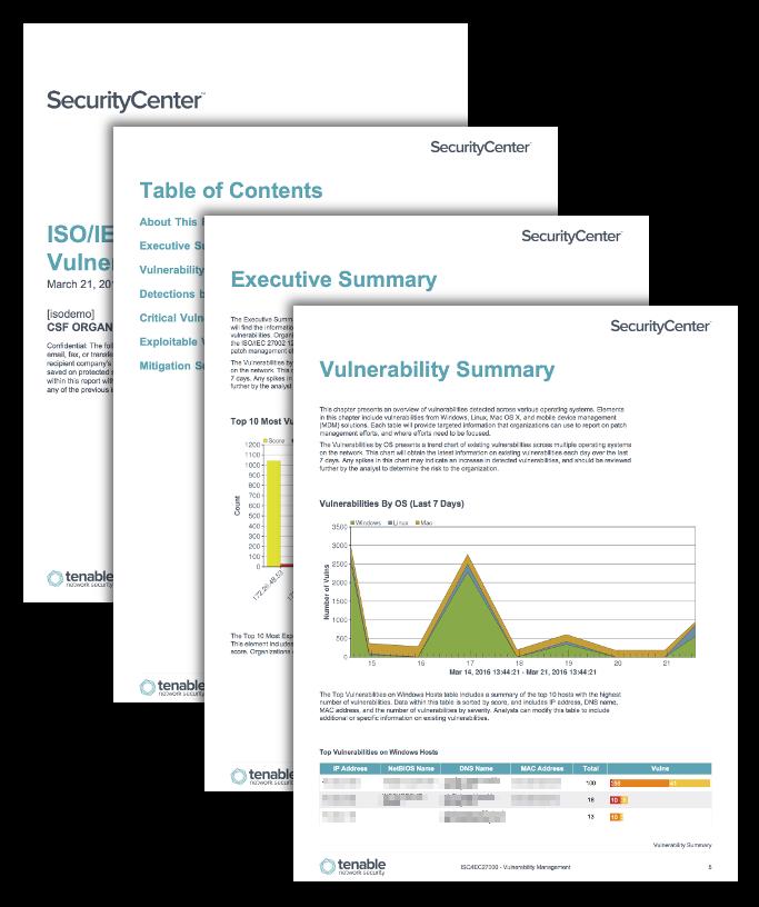 ISO/IEC27000: Vulnerability Management Report Screenshot