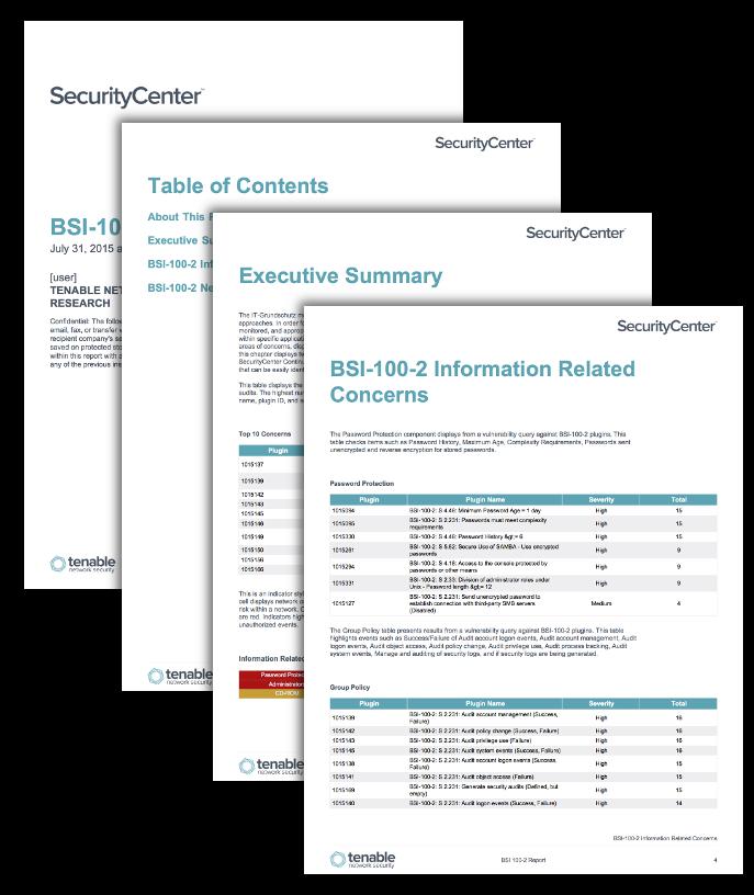 IT-Grundschutz BSI-100-2 Report - SC Report Template | Tenable™