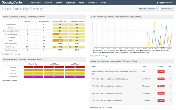 Apache Vulnerability Summary Dashboard Screenshot