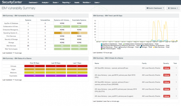 IBM Vulnerability Summary Dashboard Screenshot