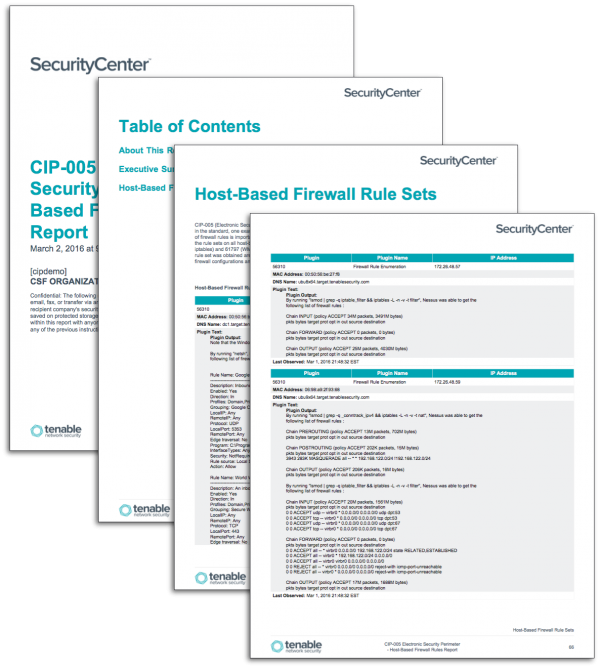 CIP-005 Electronic Security Perimeter - Host-Based Firewall Rules Report Screenshot