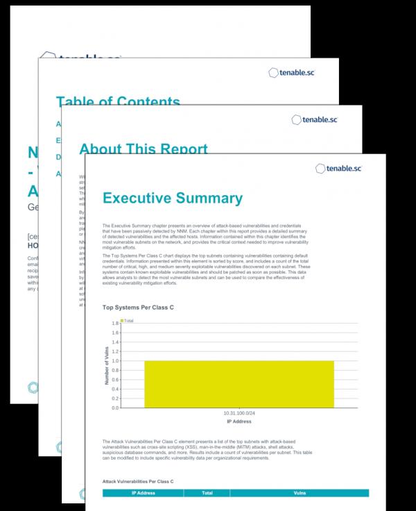 NNM Detections Report - Vulnerabilities and Attacks Screenshot