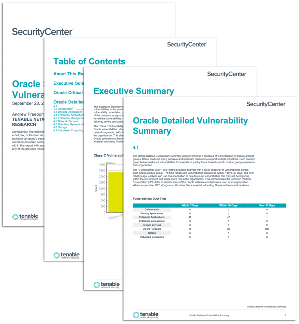 Oracle Software Vulnerability Report