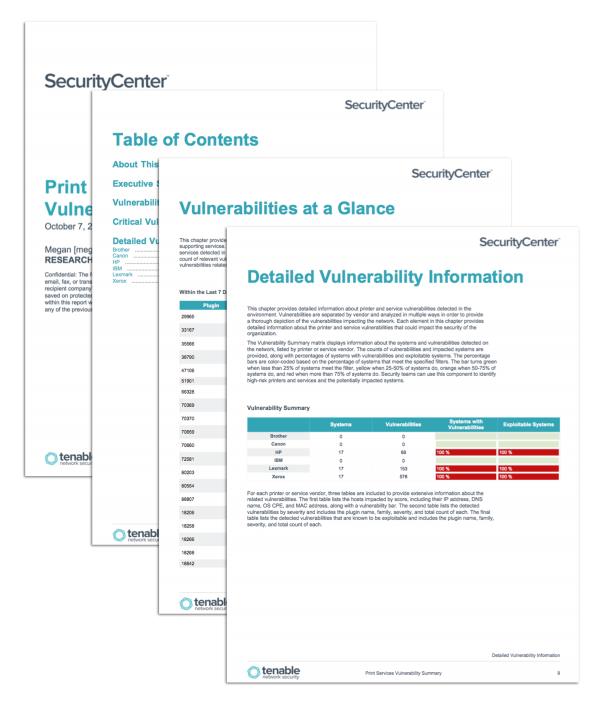 Print Services Vulnerability Summary Report Screenshot